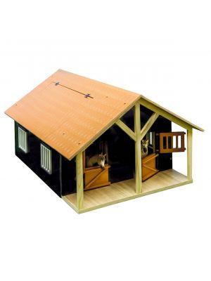 Kids Globe Pferdestall Holz Braun mit 2 Boxen und Lagerung 610167