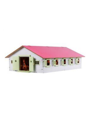 Kids Globe Pferdestall Holz Pink mit 9 Boxen 610188