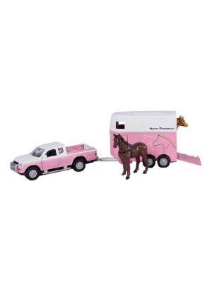 Kids Globe Mitsubishi mit Pferdeanhänger Die Cast Pink 27cm 520124