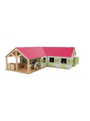Kids Globe Pferdestall mit 3 Boxen und Abstellraum 1:24 pink 610210