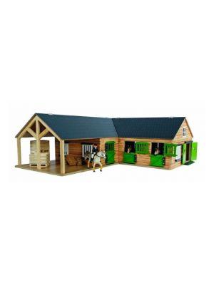 Kids Globe Pferdestall mit 3 Boxen und Abstellraum 1:24 braun 610211