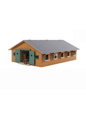 Kids Globe Pferdestall Holzbraun 1:32 mit 9 Boxen 610544