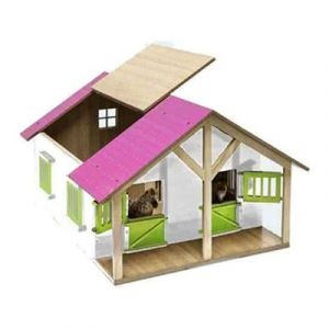 Kids Globe Pferdestall Holz Pink mit 2 Boxen und Lagerung 610168