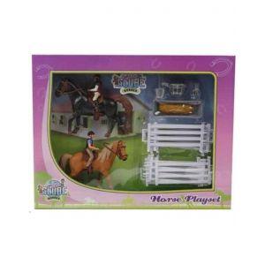 Kids Globe Spielset 2 Pferde mit Reitern und Zubehör 640072