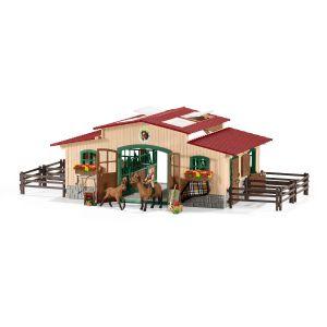 Schleich 42195 Pferdestall mit Pferden und Zubehör